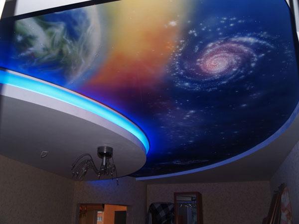 Натяжной потолок звездное небо в комнате